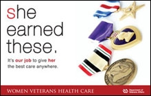 Thumbnail of Outreach Poster: She Earned These (medals). It's our job to give her the best care anywhere