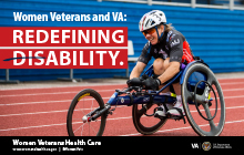 Women Veteran competes in 2017 National Women Veterans wheelchair games track event.