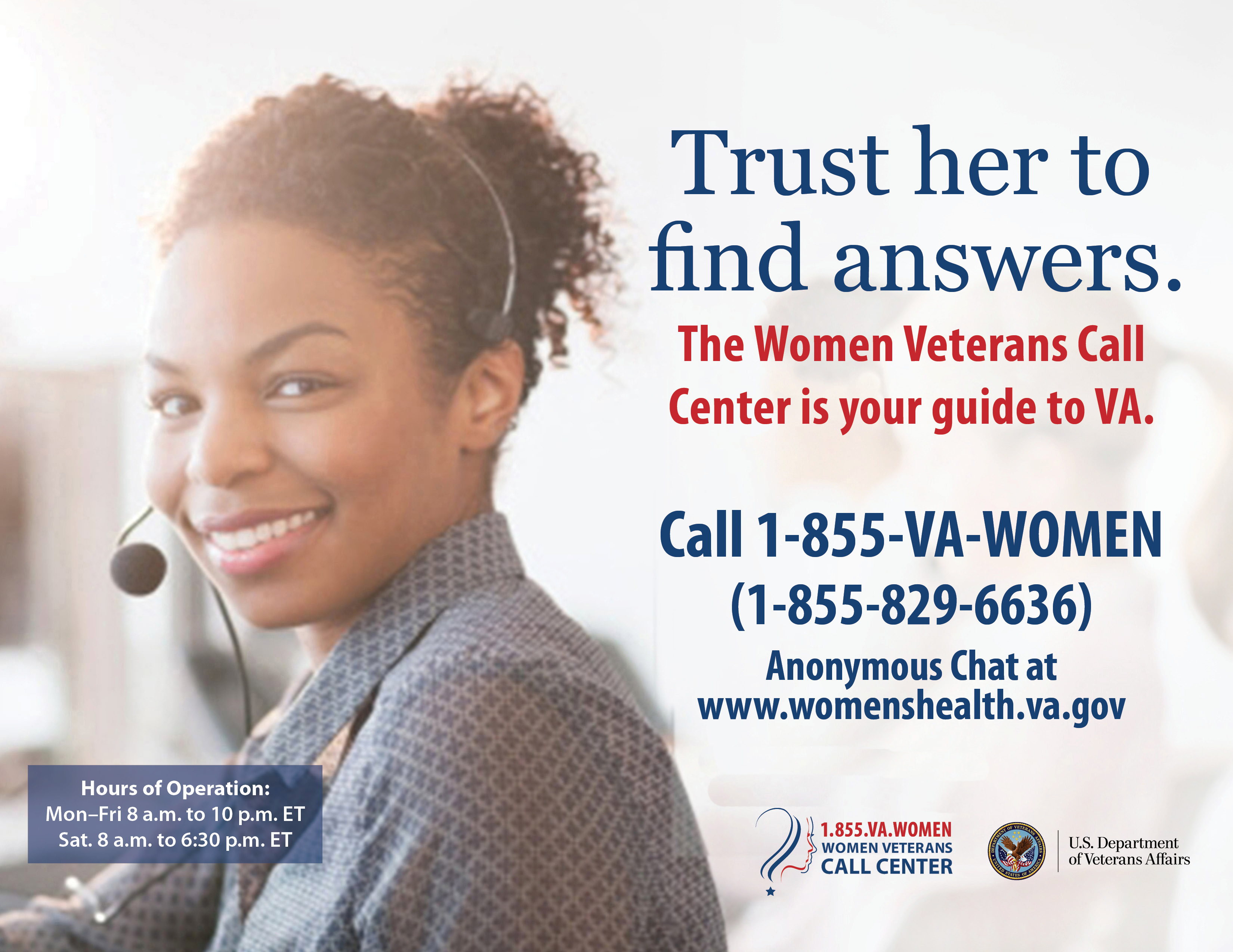 trust her to answers women veterans health care image of women veterans call center poster