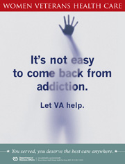 Thumbnail image of substance abuse poster: It's hard to come back from addiction. Let VA help.