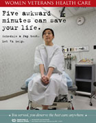 Thumbnail image of cervical cancer poster: Five awkward minutes can save your life. Schedule a Pap test.