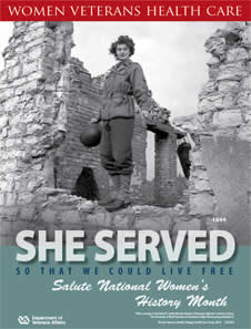 Thumbnail of Women's History Poster World War II: She served so that we could live free. Salute Women's History Month.