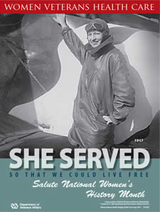 Thumbnail of Women's History Poster World War I: She served so that we could live free. Salute Women's History Month