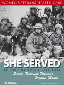 Thumbnail of Women's History Poster Desert Storm: She served so that we could live free. Salute Women's History Month
