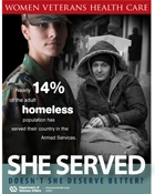Thumbnail of homelessness awareness poster: She served. Doesn't she deserve better?