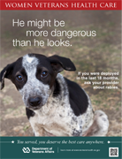 Thumbnail of rabies poster: He may be more dangerous than he looks. If you were deployed in the last 18 months, talk to your provider about rabies.