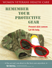 Thumbnail of skin cancer awareness poster: Remember your protective gear. Prevent skin cancer